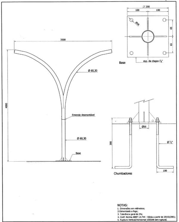 Poste Curvo Duplo com Base e Chumbadores 04 Metros