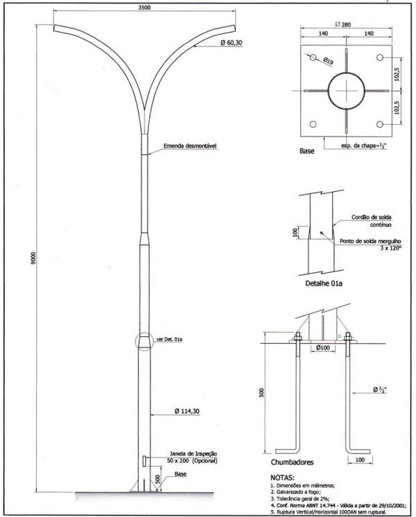 Poste Curvo Duplo com Base e Chumbadores 09 Metros