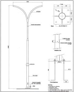 Poste Curvo Duplo com Base e Chumbadores 10 Metros