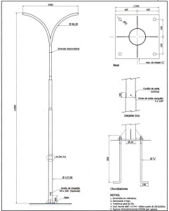 Poste Curvo Duplo com Base e Chumbadores 12 Metros