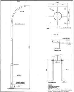 Poste Curvo Simples Chumbador 10 Metros
