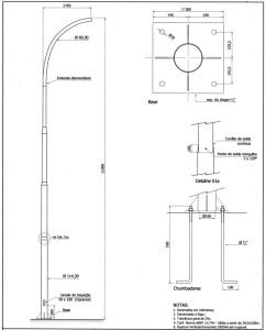 Poste Curvo Simples Chumbador 11 Metros