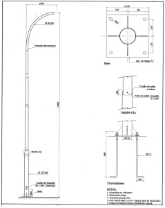 Poste Curvo Simples Chumbador 12 Metros