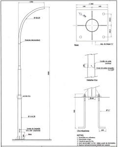Poste Curvo Simples Chumbador 09 Metros