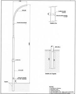 Poste Curvo Simples Engastado 10 Metros