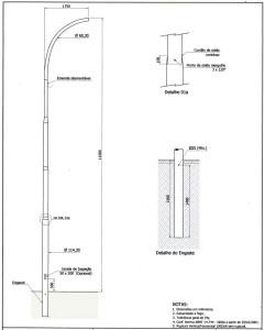 Poste Curvo Simples Engastado 11 Metros