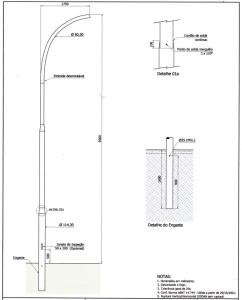 Poste Curvo Simples Engastado 09 Metros