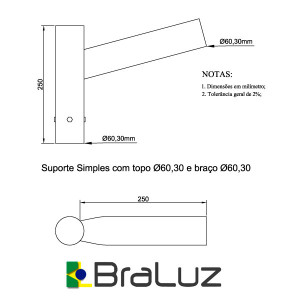 Suporte para Luminária Simples - 6060